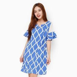 Đầm suông tay loe màu xanh dương