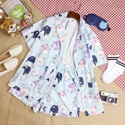 Set đồ bộ hoạ tiết ngộ nghĩnh áo pyjama tay lỡ và quần sooc