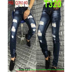 Quần jean nam màu xanh đậm rách đùi phong cách nam tính QJN140