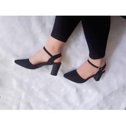 giày cao gót đế vuông bít mũi