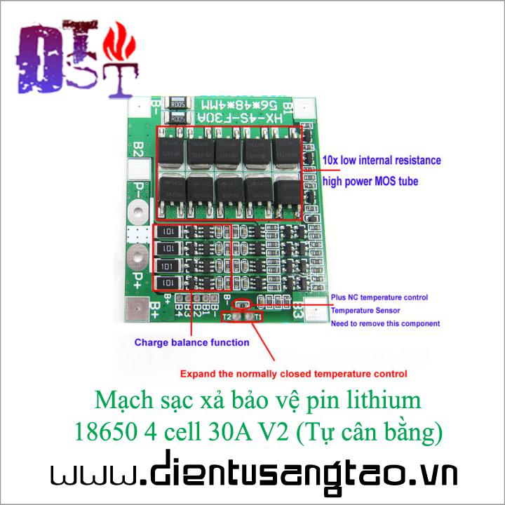 Mạch sạc xả bảo vệ pin lithium  18650 4 cell 30A V2  Tự cân bằng 5