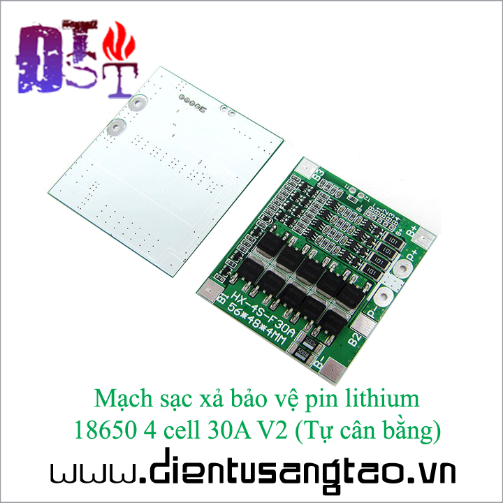 Mạch sạc xả bảo vệ pin lithium  18650 4 cell 30A V2  Tự cân bằng 2