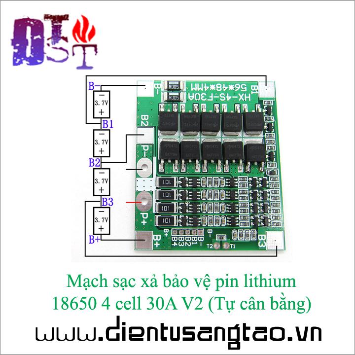 Mạch sạc xả bảo vệ pin lithium  18650 4 cell 30A V2  Tự cân bằng 3