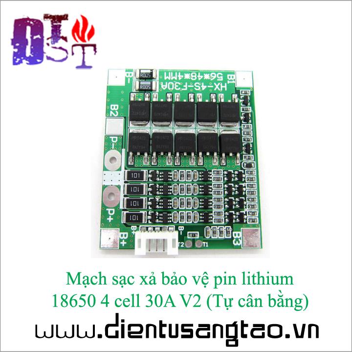Mạch sạc xả bảo vệ pin lithium  18650 4 cell 30A V2  Tự cân bằng 4