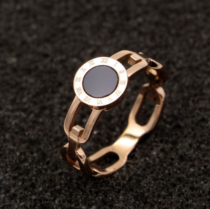Nhẫn Titan Mặt Tròn Đen Cao Cấp TT 0902 1