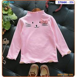 Áo bé gái tay dài họa tiết mèo nơ xinh xắn và ấm áp