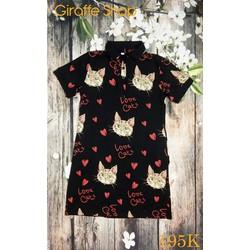 Đầm thun in họa tiết mèo