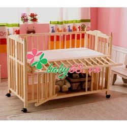 Giường cũi Elly màu tự nhiên có kèm nệm