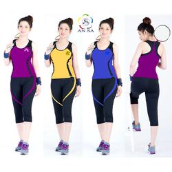 Bộ quần áo thể thao lửng nữ cao cấp phối viền