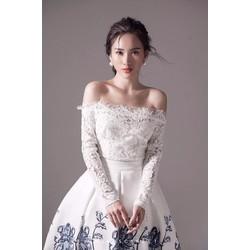 HÀNG MƠI KÈM HÌNH THẬT--Đầm xoè trễ vai ren phối tùng in hoa 3D