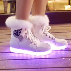 Giày phát sáng cao cổ lông cực ấm, đẹp, thời trang cho nữ