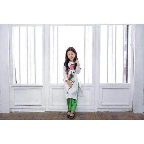 Bộ áo dài trắng vải tafta thêu hoa sen quần gấm Thái Tuấn 12-43kg - 10529863 , 8152565 , 15_8152565 , 345000 , Bo-ao-dai-trang-vai-tafta-theu-hoa-sen-quan-gam-Thai-Tuan-12-43kg-15_8152565 , sendo.vn , Bộ áo dài trắng vải tafta thêu hoa sen quần gấm Thái Tuấn 12-43kg