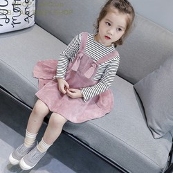 Váy dây xoè màu hồng thiết kế mới siêu xinh bé gái