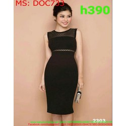 Đầm ôm body dự tiệc sát nách phối lưới phong cách thời trang DOC733