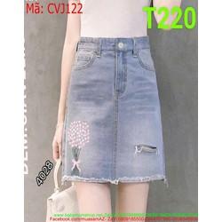 Chân váy jean nữ ngắn thêu hoa sành điệu và thời trang CVJ122