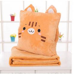 Bộ chăn gối du lịch chú mèo con nâu cam