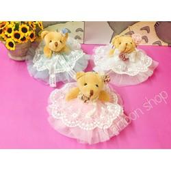 Gấu bông mặc váy dễ thương 15cm - Quà tặng noel