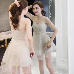 Đầm hai lớp lưới cúp ngực chân váy xòe quý phái M