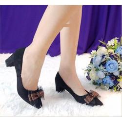 Giày búp bê cao gót nơ voan
