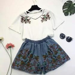 Set áo phông choker + quần short jean thêu hoa