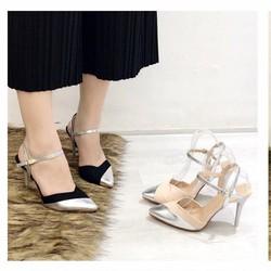 giày cao gót bít mũi phối màu