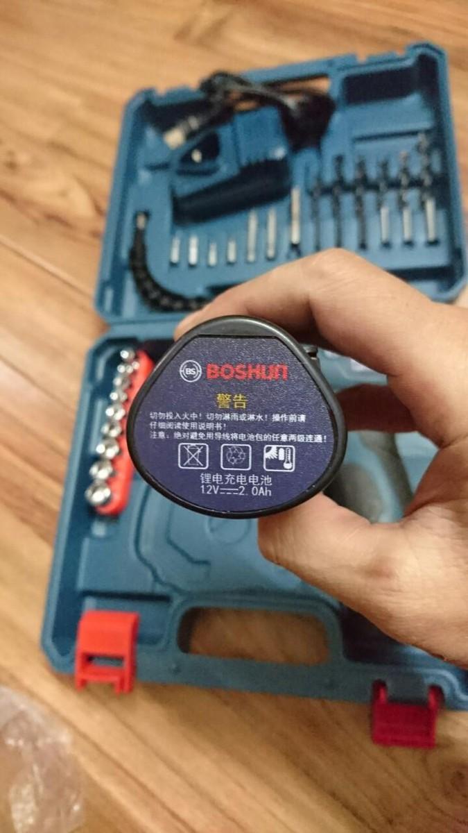 Bộ máy khoan đa năng BOSHUN - dùng PIN - Kèm 2 quả PIN 36000MHA 3