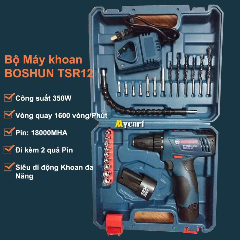 Bộ máy khoan đa năng BOSHUN - dùng PIN - Kèm 2 quả PIN 36000MHA 1