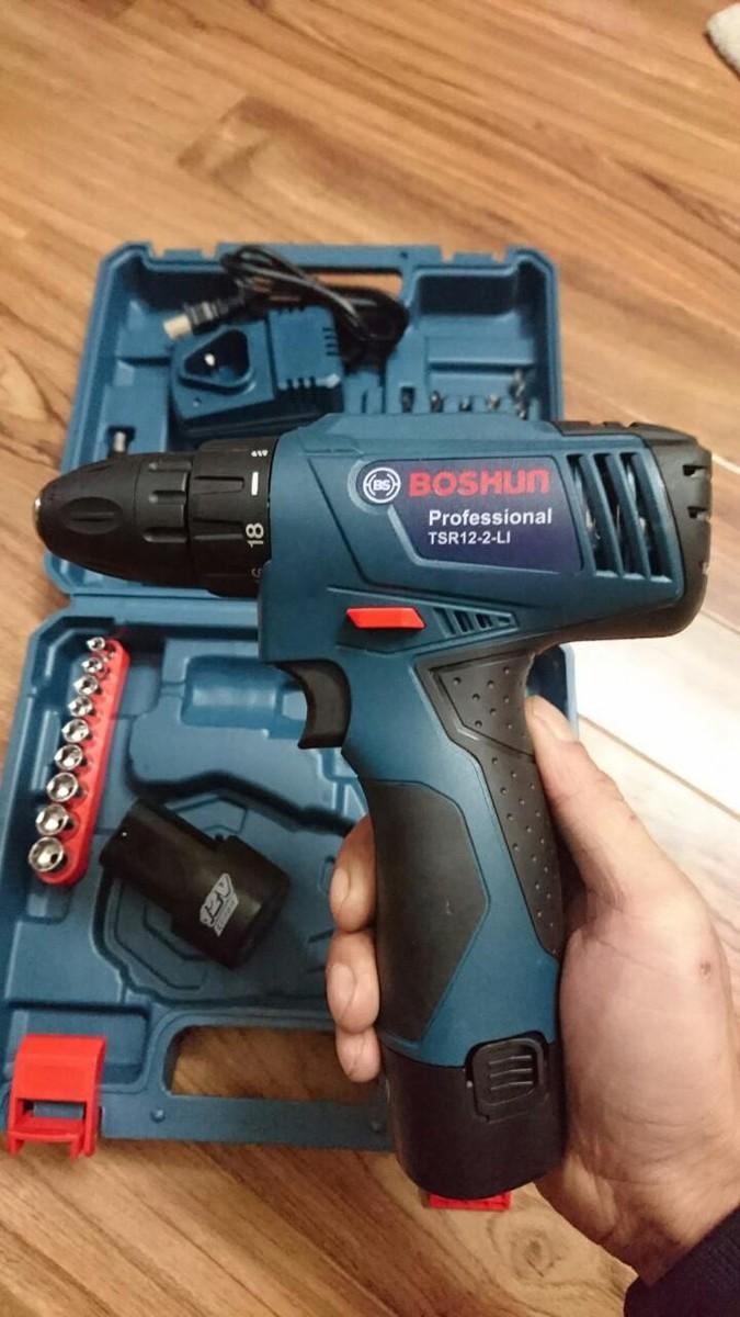 Bộ máy khoan đa năng BOSHUN - dùng PIN - Kèm 2 quả PIN 36000MHA 5