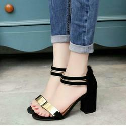 giày cao gót đế vuông khóa kéo sau