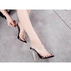Giày cao gót quai trong đế đen dv621