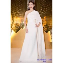 Đầm Dạ Hội Thiết Kế Lệch Vai Choàng Dài Sang Trọng