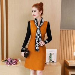 Đầm suông tay len kèm khăn lụa cao cấp DS5194 - Hàng nhập loại 1