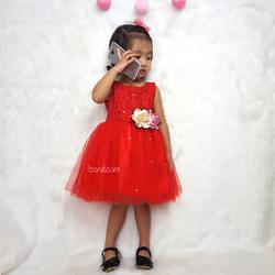 Váy Dự Tiệc Màu Đỏ Cho Bé Gái Dạo Phố, Đi Sinh Nhật, Đám Cưới