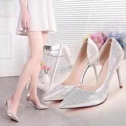 giày cao gót bít mũi gót nhọn kim tuyến kim sa