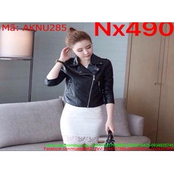 Áo khoác da nữ dài tay khóa kéo chéo màu đen cá tính AKNU285