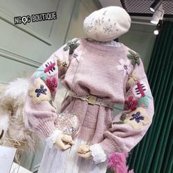 Áo len đính hoa hàng xịn cao cấp