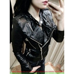Áo khoác da nữ cổ bẻ thiết kế mới lạ sành điệu AKNU226
