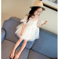 Đầm công chúa tay loe lưới chấm bi dễ thương