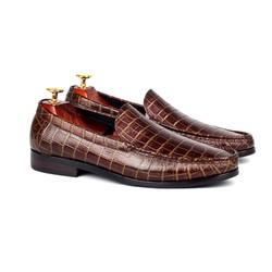 Giày da công sở vân da cá sấu nâu sang trọng