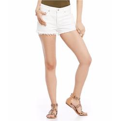 Quần short jean trắng lai tua thời trang