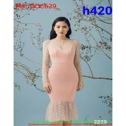Đầm ôm dự tiệc dài tay đuôi cá lưới chấm bi thời trang DOC629
