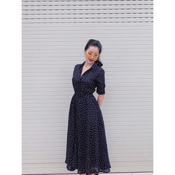 Đầm Xòe Chấm Bi Vintage Cổ Sơ Mi - Xanh