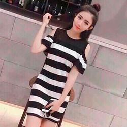 Đầm suông sọc ngang tay lỡ khoét vai-dsplhl38