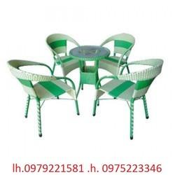 bàn ghế cafe mây  nhựa giá bán tại công ty giá cực sóc