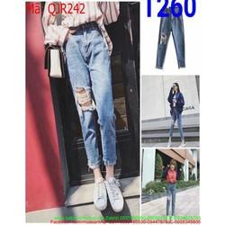 Quần jean nữ rách 1 bên gối sành điệu và thời trang QJR242