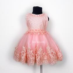Đầm Xòe Công Chúa Bé Gái Màu Hồng Dâu Kết Ren Đính Ngọc Trai