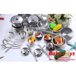 Bộ đồ chơi nhà bếp nấu ăn inox 40 món: Loại 1
