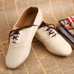 Giày Nữ  Kiểu Dáng Oxford  Màu Kem - BH 6 tháng
