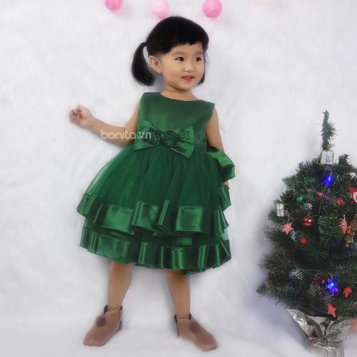 Đầm Giáng Sinh Bé Gái Phi Bóng Chân Bèo Màu Xanh
