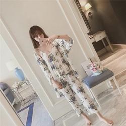 bộ đồ ngủ kèm áo choàng voan lụa hàng xuất khẩu - B643
